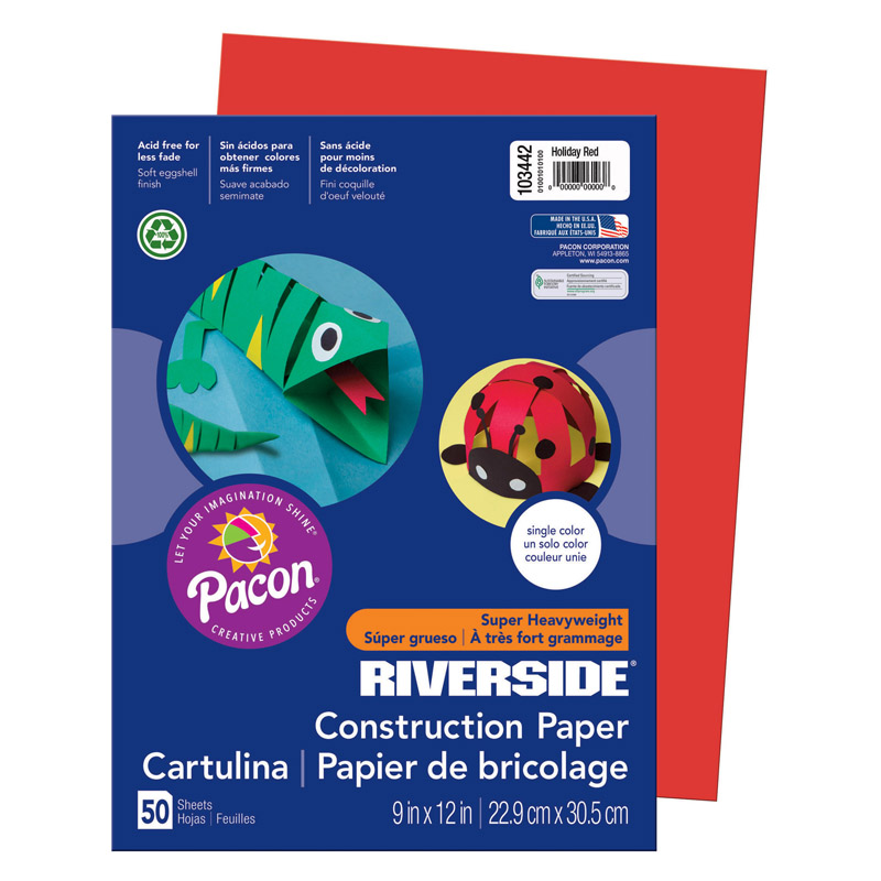 RIVERSIDE 9X12 HOLIDAY RED 50 SHT CONSTRUCTION PAPER