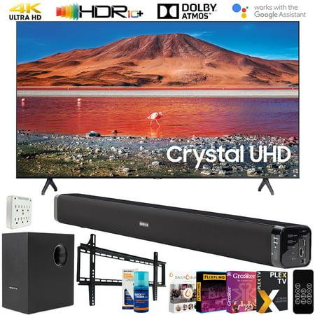 "Samsung UN43TU7000 43-inch 4K UHD Smart LED TV (2020) Bundle with Deco Gear 60W Soundbar & Subwoofer, Wall Mount, Surge Adapter, Screen Cleaner and TV Digital Essentials (43TU7000 43 Inch TV 43"" TV)"