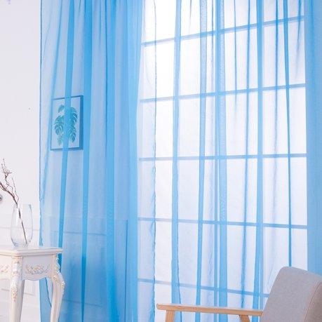 Home High Thread Rod Pocket Blue Sheer Voile Curtain Panel Window Curtains