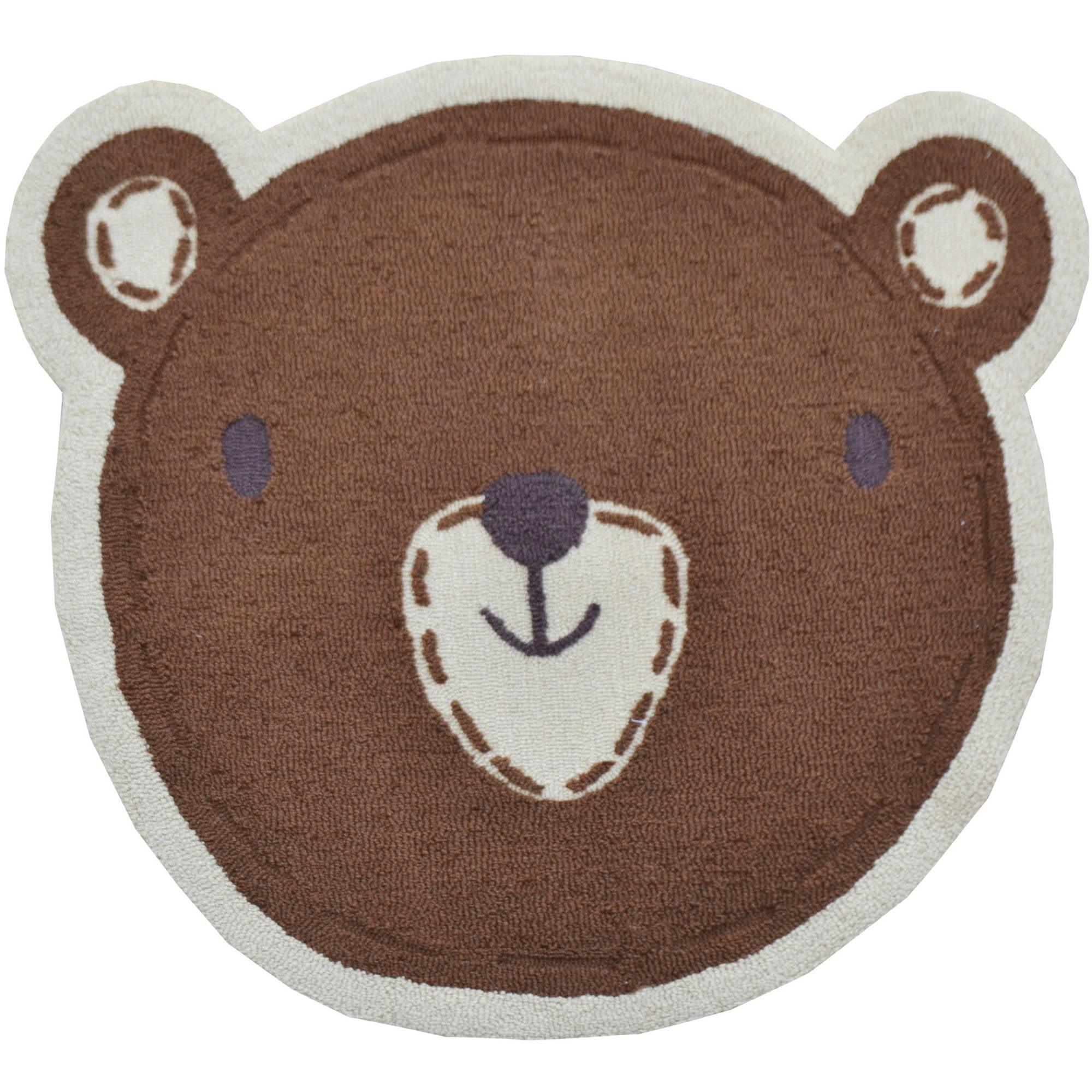 "The Rug Market Shaped Bear Face 3"" x 3"" Area Rug"