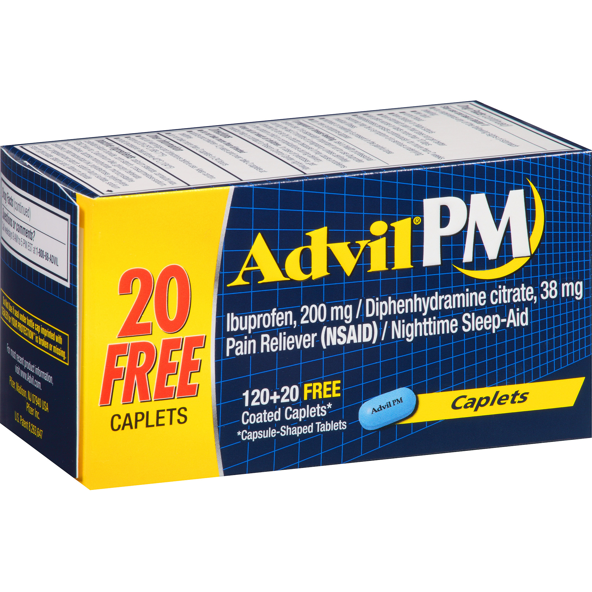Advil PM (140 Count) Pain Reliever / Nighttime Sleep Aid Caplet, 200mg Ibuprofen, 38mg Diphenhydramine