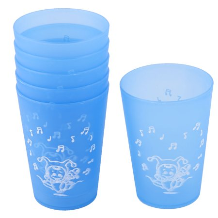 Home Office Plastic Heart Musical Note Pattern Water Milk Drinking Cup Blue - Plastic Drinking Cups