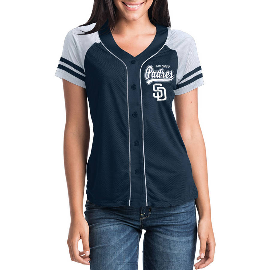 MLB San Diego Padres Women's Short Sleeve Button Down Mesh Jersey