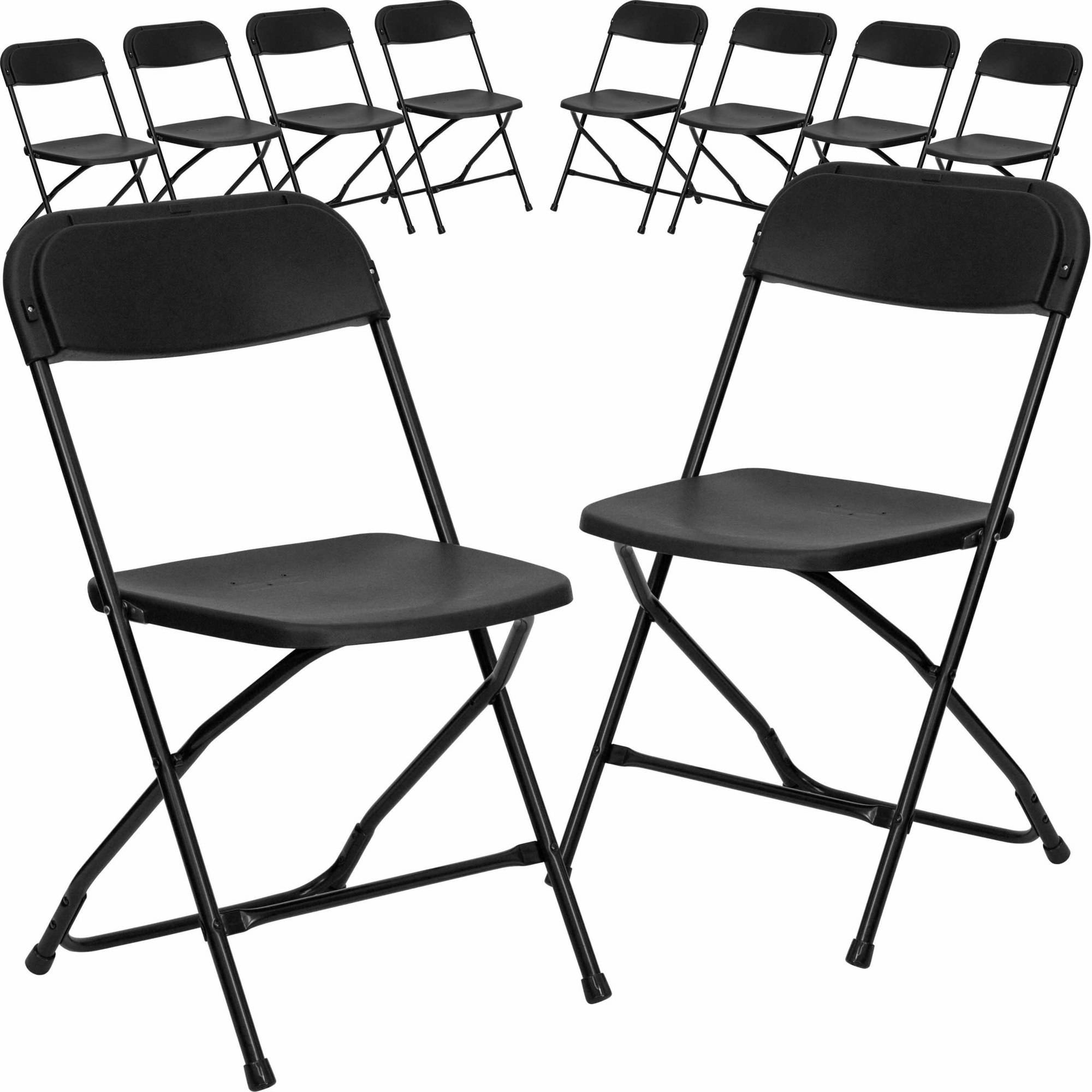 Flash Furniture 10 Pack HERCULES Series 800 Lb Capacity Premium Plastic Folding  Chair, Multiple
