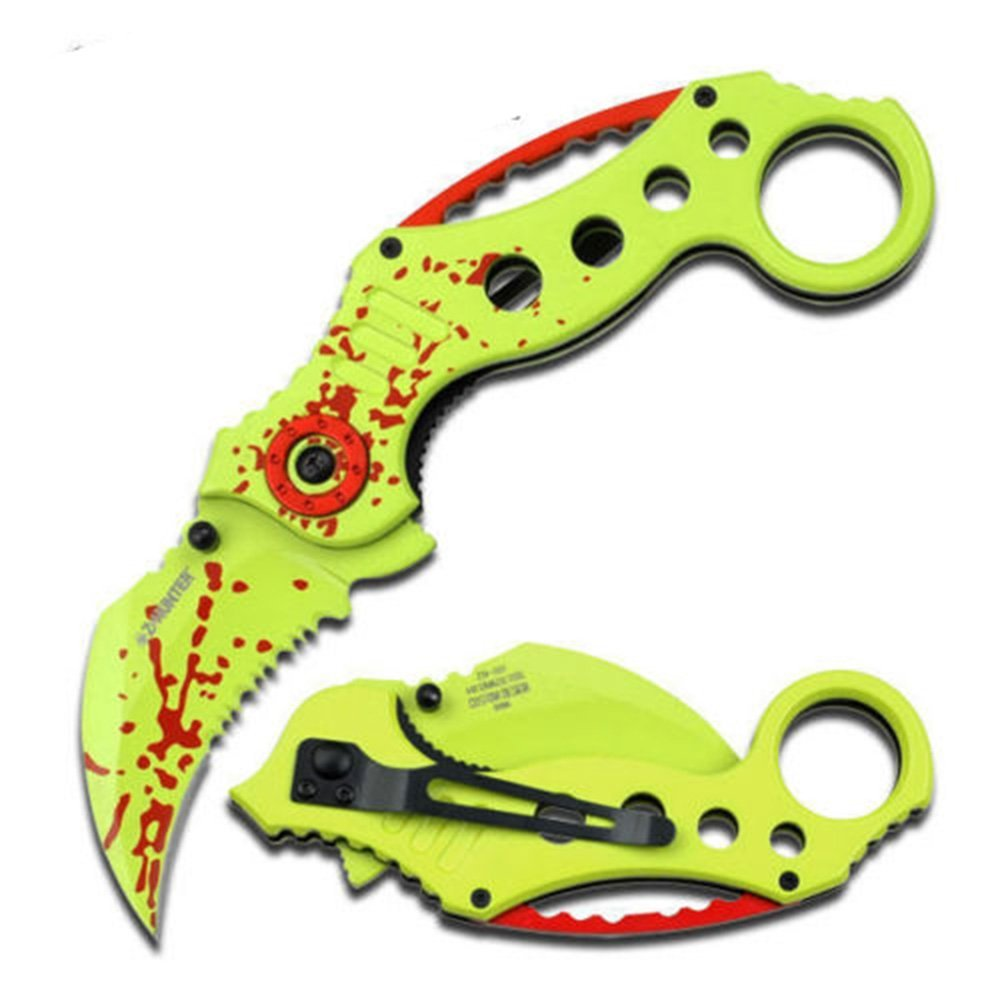 Hunter Spring Assisted Opening Tactical Knives Neon Green Karambit Knife, Apocalypse EDC Black 475 BLACK Hunter Tactical SPRING 45Inch Zombie Knives Spring Blade Handle.., By BTAC