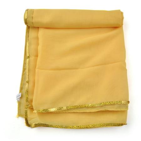 BellyLady Stunning Handmade Chiffon Belly Dance Veil, For Practice-Yellow