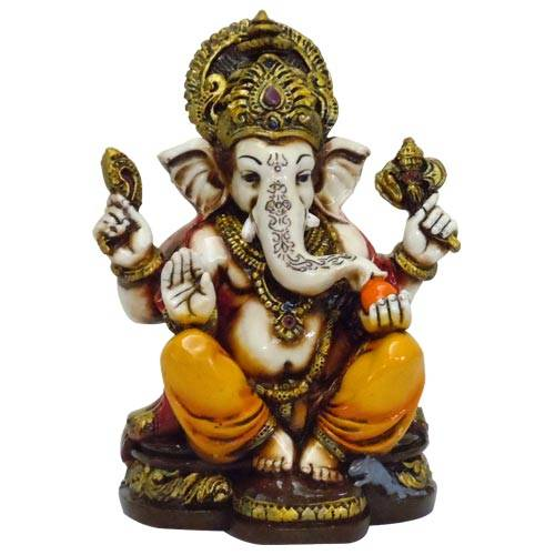 The Blessing, A colored & Gold statue of Lord Ganesh Ganpati Elephant Hindu God made from Marble powder in India
