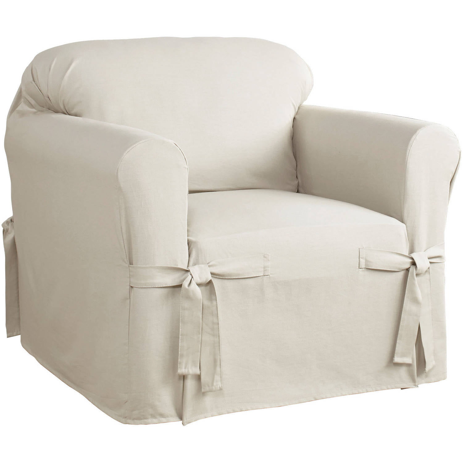 Serta Relaxed Fit Cotton Duck Furniture Slipcover Chair 1 Piece Box Cushion Com