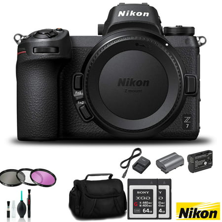 Nikon Z7 Mirrorless FX-Format Digital Camera (Body Only) Bundle 2X 64GB Memory C
