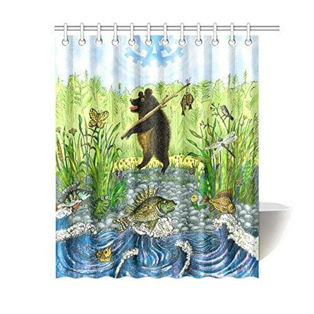 GCKG Kids Children Shower Curtain, Bear Fisherman Funny Animal Polyester Fabric Shower Curtain Bathroom Sets 60x72 Inches - image 3 de 3