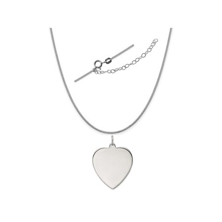 Satin Silver Heart - Sterling Silver Anti-Tarnish Treated Engraveable Heart Polished Front, Satin Back Disc Necklace