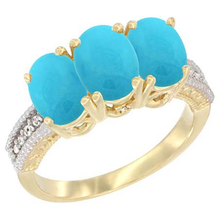 10K Yellow Gold Diamond Natural Turquoise Ring 3-Stone 7x5 mm Oval, sizes 5 - 10
