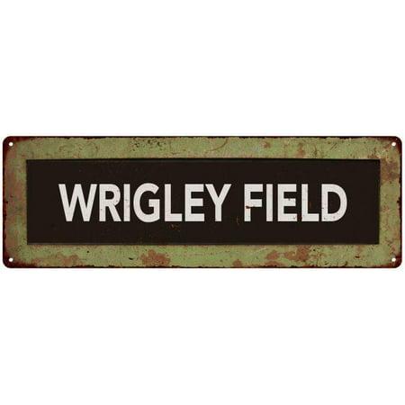 WRIGLEY FIELD Trollery Bus Roll Vintage Reproduction Metal Sign 6x18 (Wrigley Field Metal)