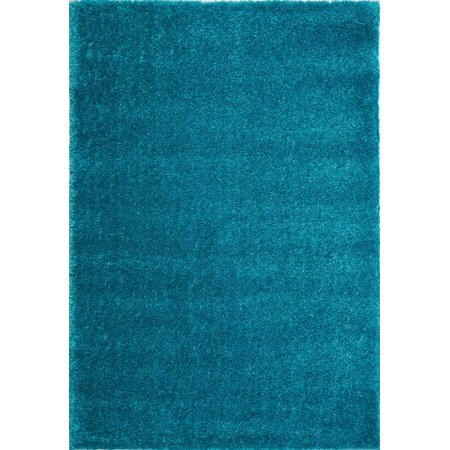 Ladole Rugs Soft Plush Smooth Solid Plain Color Modern Durable Area Rug Carpet for Living Room Bedroom in Turquoise, 5'3