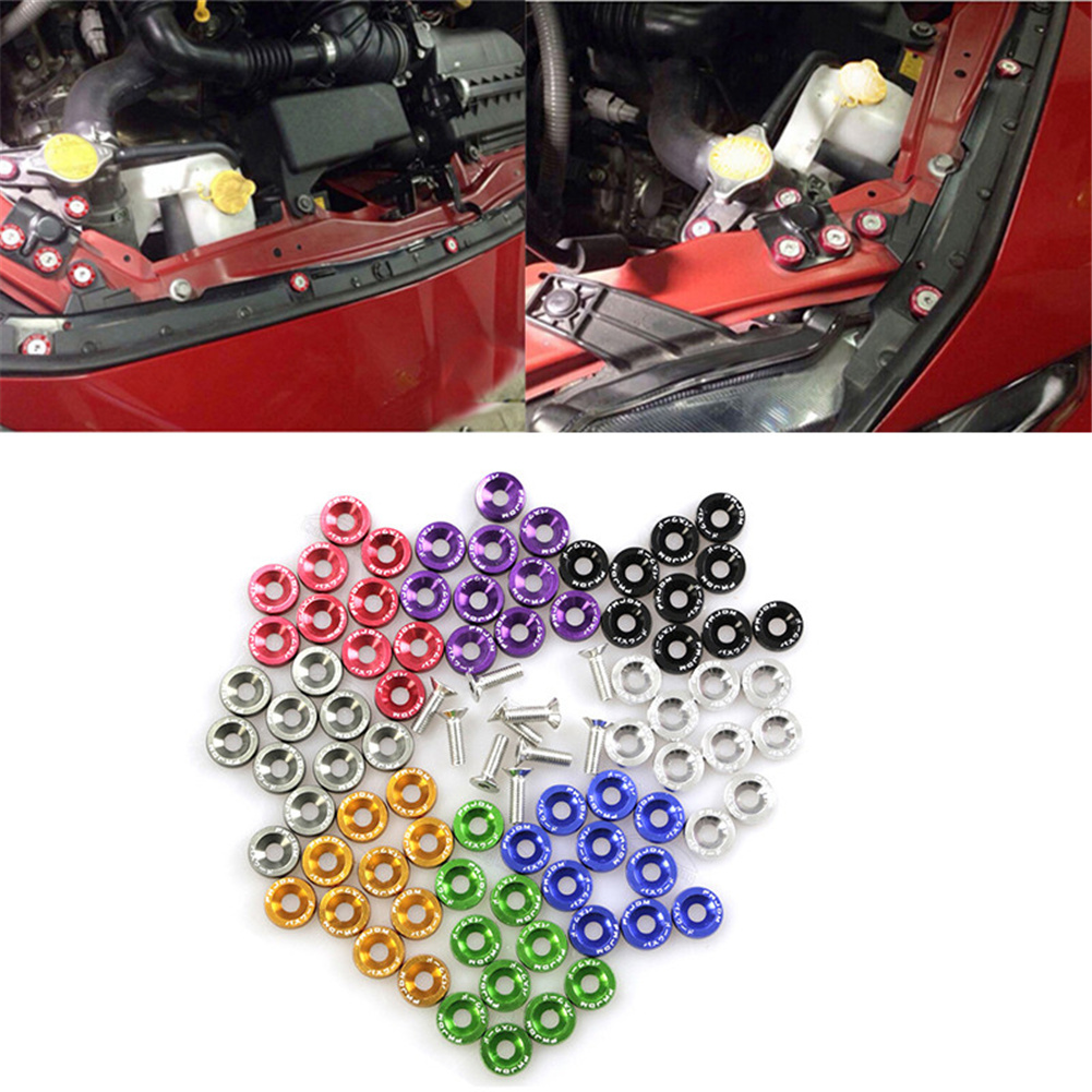 JDM Car Refitting M6 Pad Screws Accumulator Protection Pad Nuts & Bolts Fender License Plate Screw Decoration,Red