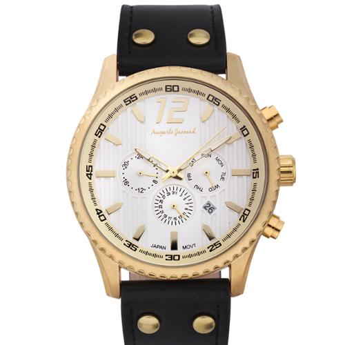 Auguste Jaccard Men's Aftershock Multifunction Watch with Black Leather Strap
