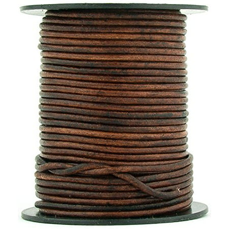 BROWN DISTRESSED NATURAL ROUND LEATHER CORD 2mm 11 Yards ()