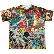 Jla - Classic Collage (Front/Back Print) - Youth Short Sleeve Shirt - Medium