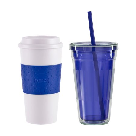 Copco To Go Blue Plastic Tumbler Gift Set For Cold and Hot Beverages - Cute Halloween Gif Tumblr