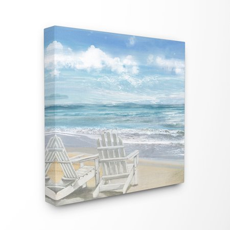 The Stupell Home Decor Collection White Adirondack Chairs on the Beach Painting Stretched Canvas Wall Art, 17 x 1.5 x 17 ()