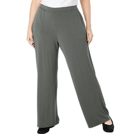Woman within plus size petite travel mixer slim pant for Travel pants petite