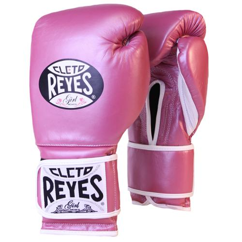 Cleto Reyes Hook and Loop Leather Training Boxing Gloves - Pink Metallic