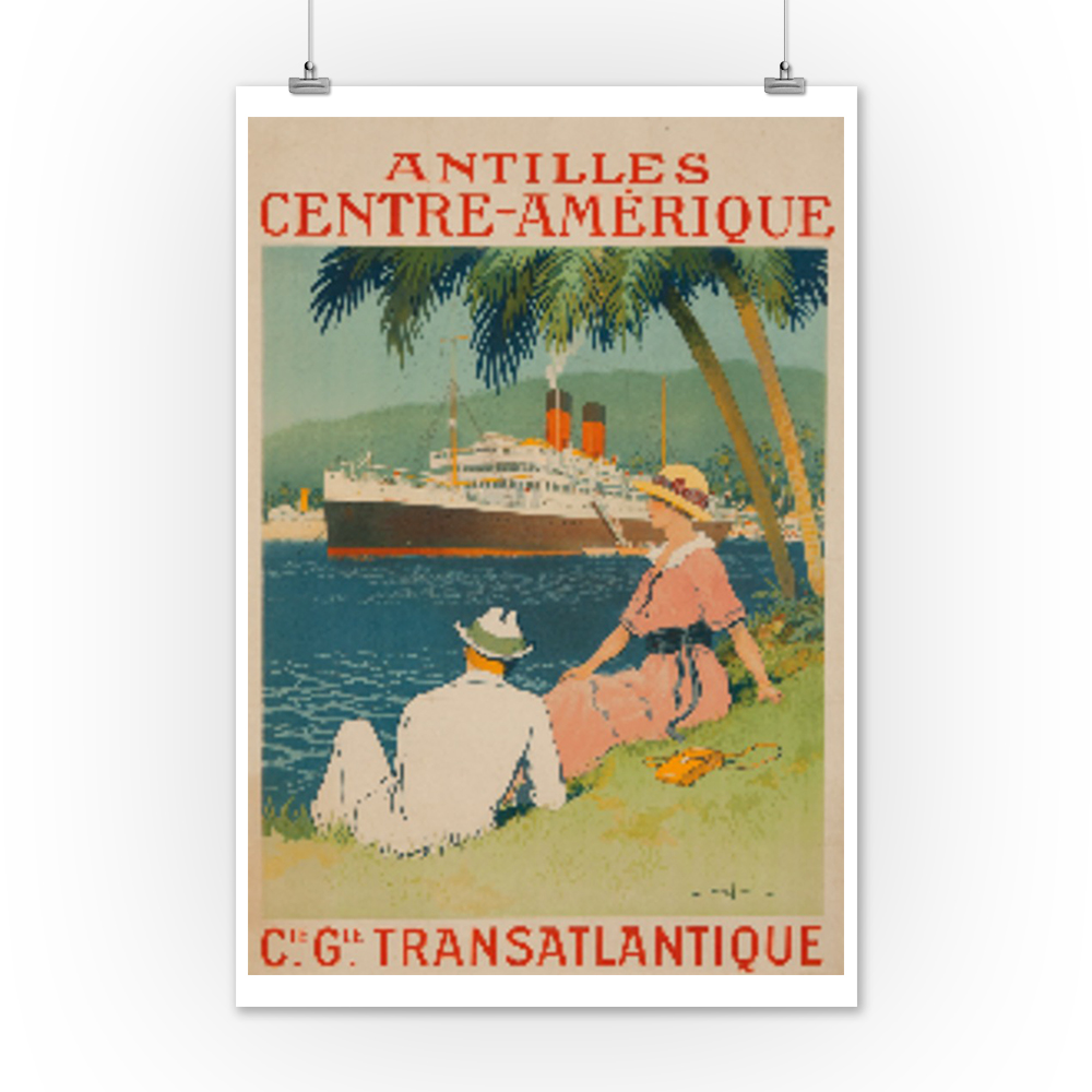 France Vintage French Art Deco Travel Poster Cie Gle Transatlantique Antilles