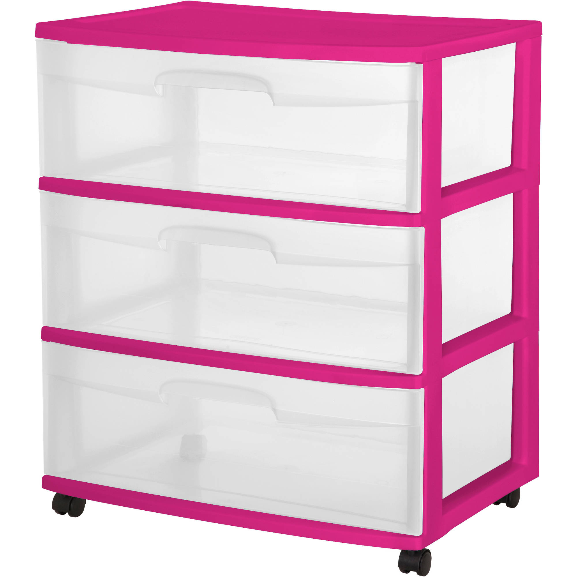 Sterilite 3 Drawer Wide Cart, Fuchsia Supreme