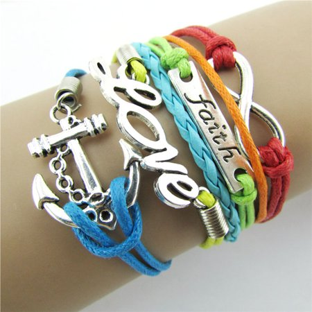 Mosunx Colorful Infinity Friendship Love Anchor Leather Charm Bracelet DIY for $<!---->