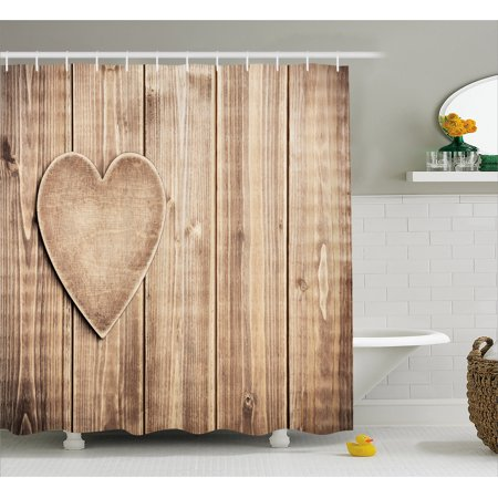 Valentines Day Shower Curtain, Rustic Heart over Wooden Planks Background Lovers Corner Romantic Celebration Print, Fabric Bathroom Set with Hooks, Tan, by Ambesonne
