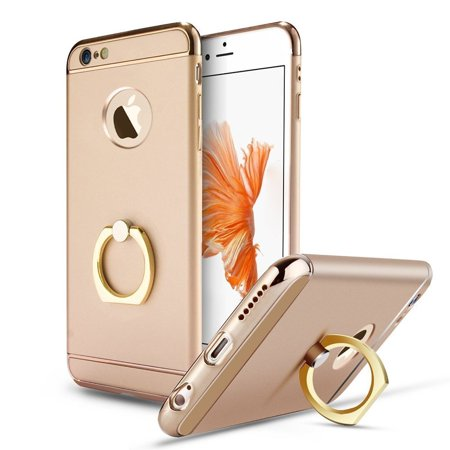 Gold Luxury Ring Holder Kickstand Hard Aluminum Hybrid Protective Case Cover for iPhone 6S 6
