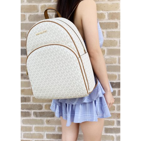 Michael Kors Abbey Large Backpack Vanilla MK Signature PVC Leather