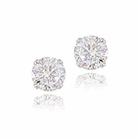 2.5 Carat T.G.W. CZ Sterling Silver Stud Earrings,