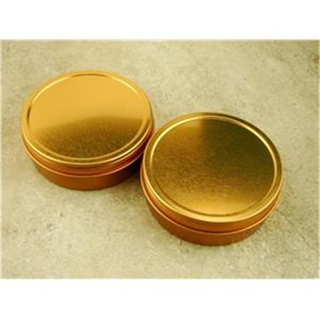 - Set of 2 Gold 3In Round Sample Tins, Screw On Lid, Metal, Specimen Container