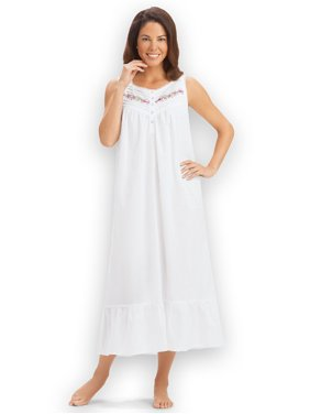 8ad13e8be4 Product Image Women s Embroidered Sleeveless Cotton Nightgown with Flounce  Hem
