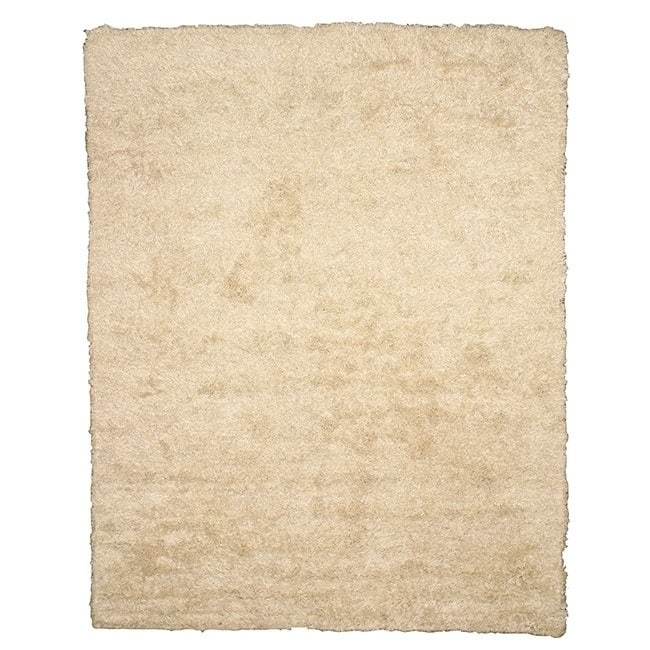 EORC Handwoven Wool & Viscose Ivory Contemporary Solid Shaggy Rug (5' x 8') - 5' x 8'