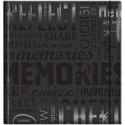 "Embossed Gloss Expressions 200-Pocket Photo Album, 8.75"" x 9.5"", Memories, Black"