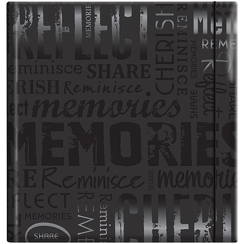 "Embossed Gloss Expressions 200-Pocket Photo Album, 8.75"" x 9.5"", Memories, Black"