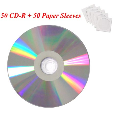 50 Pack Smartbuy Professional CD-R 48X 700MB 80Min Diamond Shiny Silver Blank Disc (Include 50 White Paper Sleeves) (Blank Cardboard Cd Sleeve)