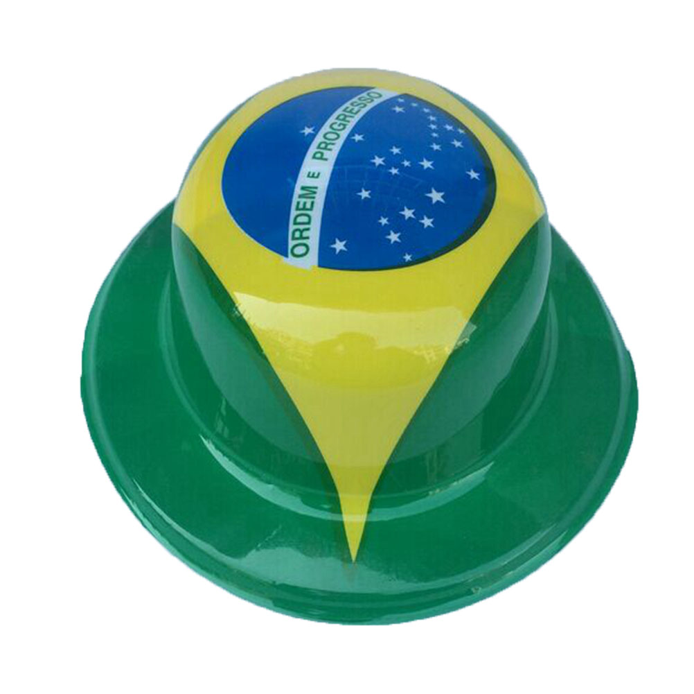 1Pcs 2016 Brazil Rio Olympic Party Decoration Carnival Flag Hat PVC Round Top Style Hat Caps Kids Children Birthday Gift Party Supplies