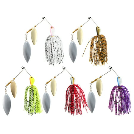 5Pcs Fishing Spinner Baits Hard Lure Kits 20g 25g Spinnerbaits Jig Lure with Barbed Hook for Saltwater