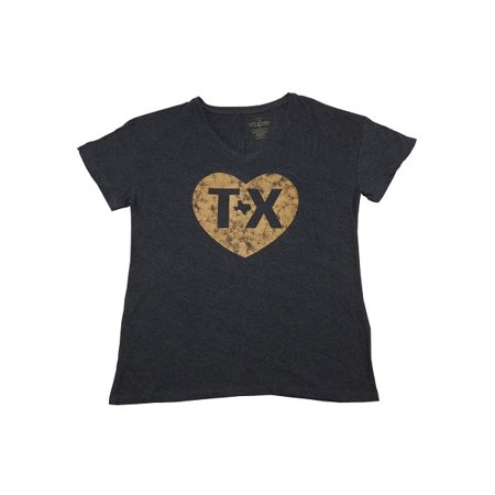 State of Mine Womens Size Medium Short Sleeve Gold Heart Texas State Tee, Chrcol (Heart Skate)