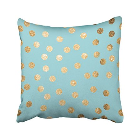 Polka Dot Pillow Box (WinHome Decorative Decorative Pillow Aqua Blue and Gold Glitter Polka Dot Pillow Case Size 18x18 inches Two Side)