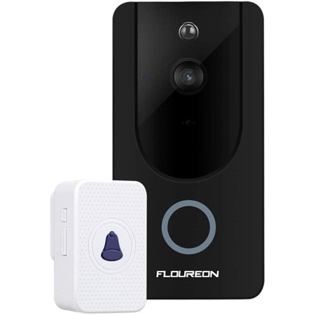 Smart Video Doorbell , WiFi Security DoorBell Smart Video Phone Door Visual Recording Motion Detection & Night Vision,Black (Security System With App)