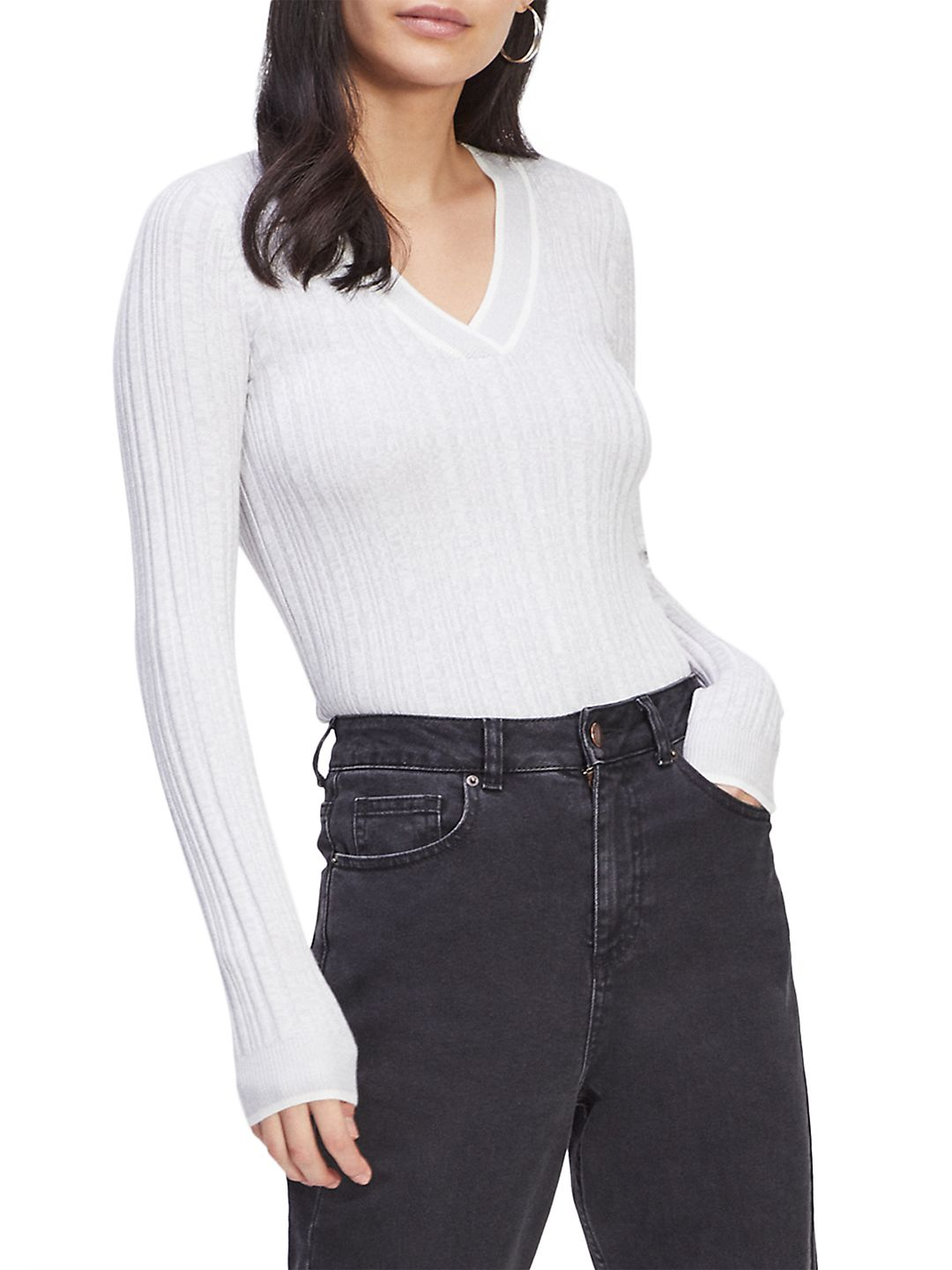 V-Neck Tipped Knitted Top