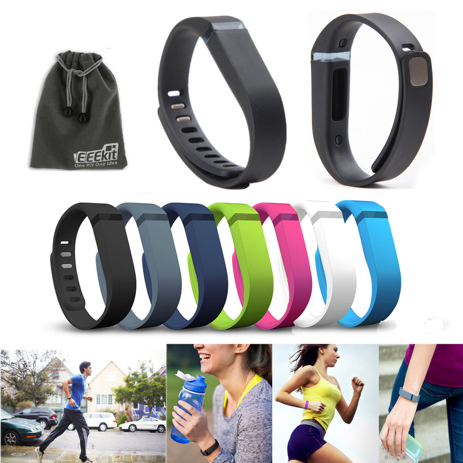 EEEKit 7 Pcs Coloreful LARGE Size Replacement Wrist Band w/Clasp for Fitbit Flex Bracelet