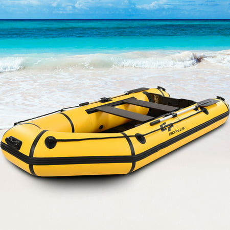 Goplus 4-Person 10FT Inflatable Dinghy Boat Fishing Tender Rafting Water Sports Sport Fishing Boat