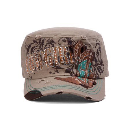 TopHeadwear Cowgirl Boots Distressed Cadet Cap (Cowgirl Cadet Cap)