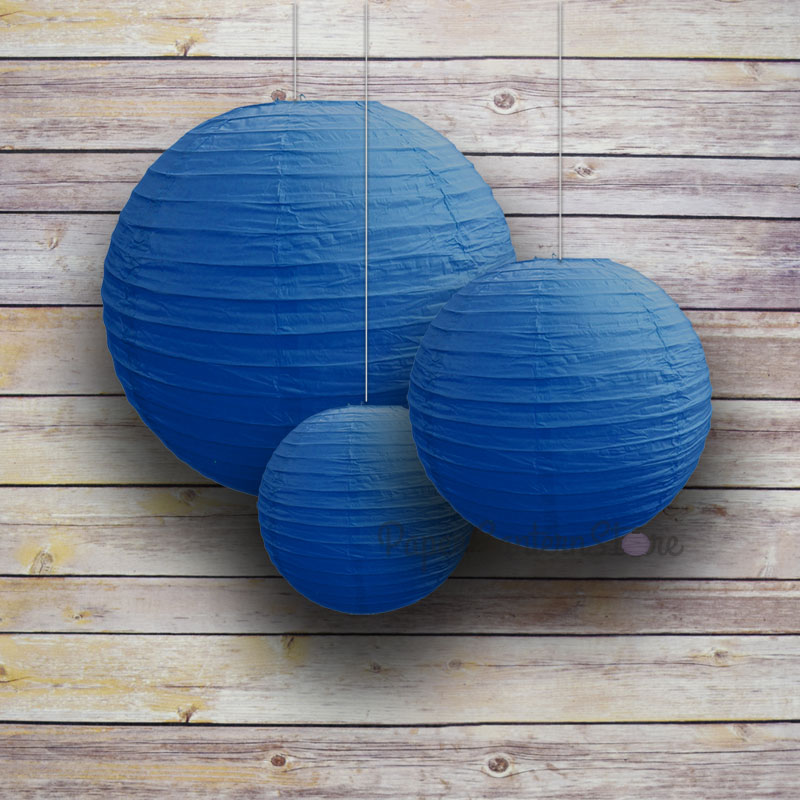 "Quasimoon 8/12/16"" Dark Blue Round Paper Lanterns, Even Ribbing (3-Pack Cluster) by PaperLanternStore"