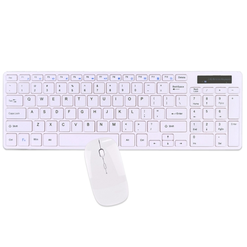 2.4GHz 95-Key Wireless Ultra Low Profile Spill Resistant Multimedia Keyboard & Optical Mouse Kit (White)